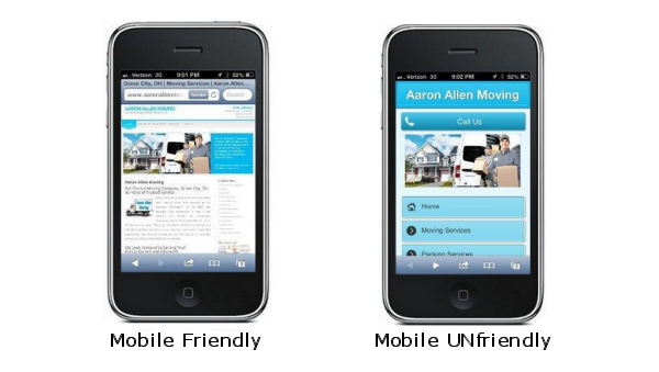 mobile friendly vs. mobile unfriendly
